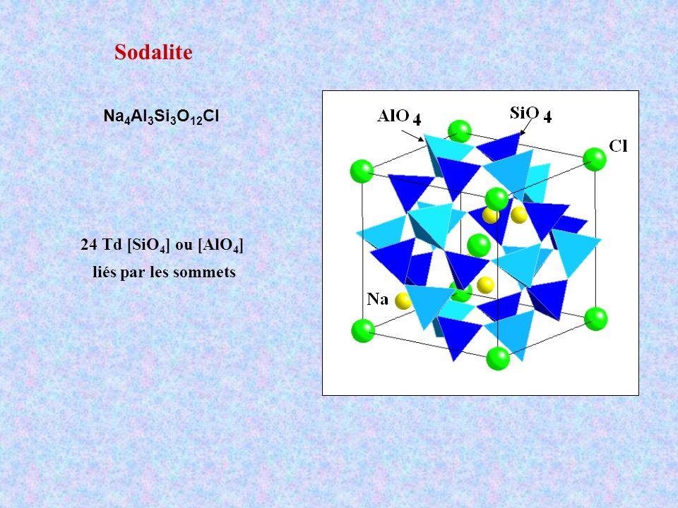 Sodalite Na4Al3Si3O12Cl 24 Td [SiO4] ou [AlO4] liés par les sommets
